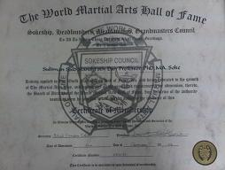 Certificate of Membership to Sokeship Council- The World Martial Arts Hall Of Fame