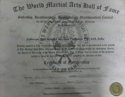 Certificate of Membership to World Martial Arts Hall Of Fame