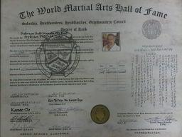 Degree Of Rank -The World Martial Arts Hall Of Fame